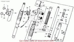 honda ct70 trail 70 k4 1975 usa front fork schematic partsfiche