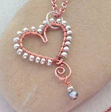 heart beaded necklace images Make a bead wrapped wire heart pendant dollar store crafts jpg