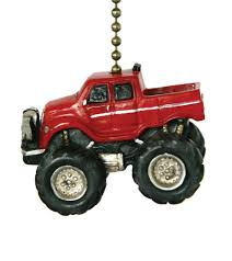 clementine design red monster truck ceiling fan pull decor