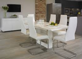 Dining Room  Illustrious White Leather Dining Room Chairs Uk - White leather dining room set