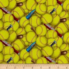 sports softball yellow discount designer fabric fabric com