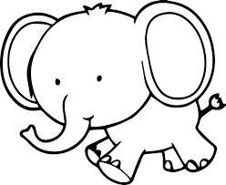 cute small elephant coloring pages print adults