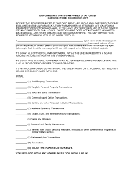 California Financial Power Of Attorney by Statutory Power Of Attorney Form 31 Free Templates In Pdf Word