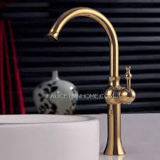 rose gold high side handle bathroom vessel faucet