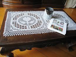 crochet filet lace flower pattern table runner grey rectangular