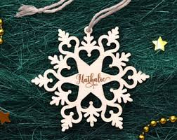 personalized wooden snowflake ornaments wood