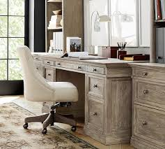Writing Desk With Chair Hayes Tufted Swivel Desk Chair Pottery Barn