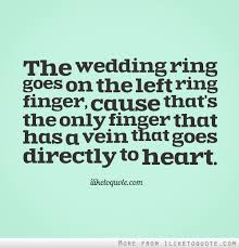wedding quotes ring the wedding ring goes on the left ring finger cause that s the