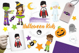 halloween background images for flyers with kids halloween kids illustration pack illustrations creative market