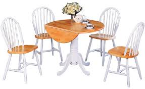 coaster damen white natural round pedestal drop leaf table set
