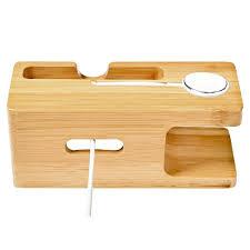 Schreibtisch Holz Handy Ladegerät Dock Mit Uhr Bambus Halter Schreibtisch Holz