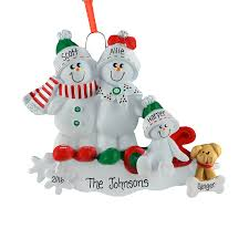 sled snow family of 3 ornament personalized ornaments for you