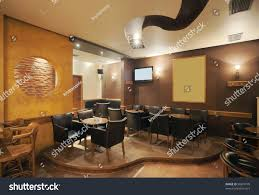 wooden interior modern simple cafe interior wooden classical stock photo 96810778