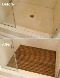 home and decor flooring adding teak to your shower floor makes it looks like a spa
