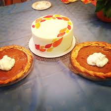 thanksgiving day desserts pumpkin pies with decorative crusts and