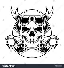 vintage biker skull ribbon goggles piston stock vector 643823218