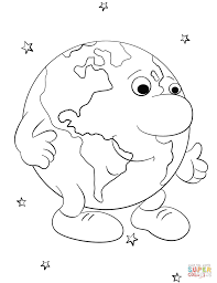 cartoon earth character coloring page free printable coloring pages