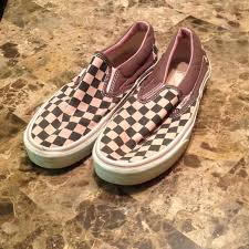 light pink checkered vans vans shoes pink and brown checkered slip ons poshmark