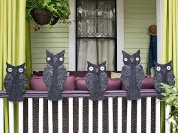 outdoor halloween decoration banister owls hgtv