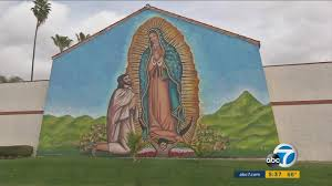 massive virgin of guadalupe mural drawing admirers in corona massive virgin of guadalupe mural drawing admirers in corona abc7 com