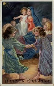 christmas children dancing around mary u0026 baby jesus c1910 postcard