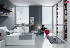 Bedroom Decorating Ideas Grey And White by Minimalist Design Ideas Using Purple Wall And Rectangular Cream