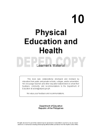 pe grade 10 learning material body mass index physical exercise