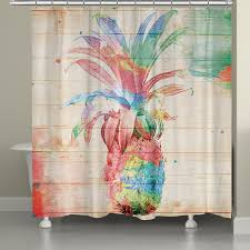 laural home watercolor pineapple shower curtain 71 inch x 74 inch