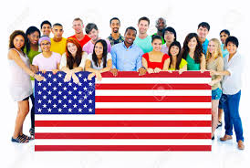 Flag People Large Group Of People Holding American Flag Board Stock Photo