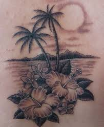 hawaiian flowers and palm tree tattoos idea