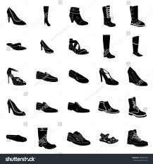 womans mans footwear black silhouettes white stock vector