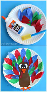 paper plate turkey craft using tissue paper easy thanksgiving