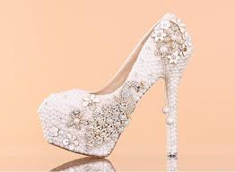 White Comfortable Heels White Pearl Crystal Wedding Shoes High Heeled Round Toe Diamond