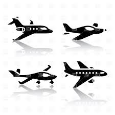 aviation silhouettes of airplane jetliner and glider vector