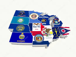 Map Of The Midwest Usa Midwest Region State Flags On Map U2014 Stock Photo Godard 15558127