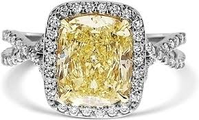 fancy yellow diamond engagement rings 2 95ct cushion cut fancy yellow diamond engagement ring ydcr5405