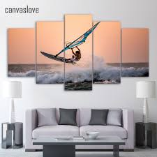 online get cheap surf art prints aliexpress com alibaba group 5 pieces canvas paintings printed sea ocean surfing wall art print canvas paintings home decor for