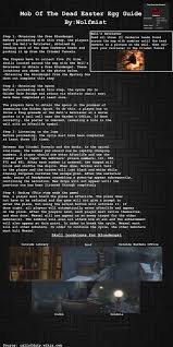 Map Of The Dead Mob Of The Dead Easter Egg Cheat Sheet Codzombies