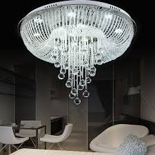 Crystal Flush Mount Ceiling Light Fixture by Round Rain Drop Crystal Glass Flush Mount Chandelier Ceiling Led