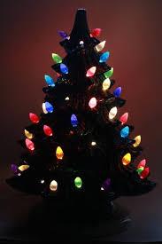 retro ceramic christmas tree lighted electric tabletop tree lamp