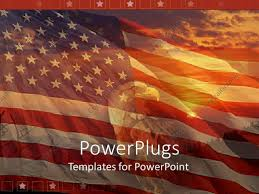 American Flag Sunset Powerpoint Template A Sunset View Of A Bald Head Eagle Over An