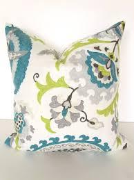 Linen Covers Gray Print Pillows White Walls Grey Teal Blue Pillow 16x16 Decorative Throw Pillows Gray Lime Green