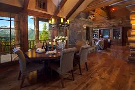 interior simple and neat log cabin homes interior dining room