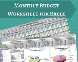 Downloadable Budget Spreadsheet Budget Worksheet Etsy