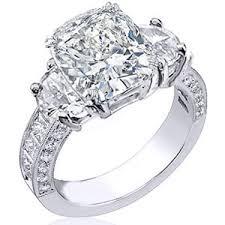 large diamond rings engagement ring large cushion diamond half moon side