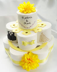 wedding cake joke toilet paper cake wedding cake wedding gift joke gift yellow