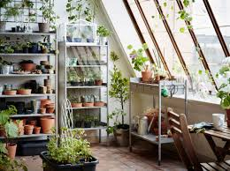 a large greenhouse furnished with gray shelves for plant pots a