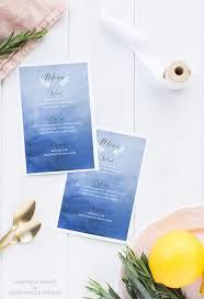 diy wedding menu cards watercolor ombre background menu cards