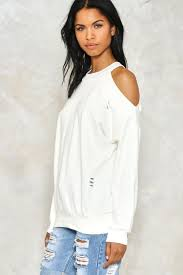cold shoulder sweaters bare enough cold shoulder sweatshirt shop clothes at gal