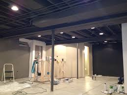 exposed ceiling basement rental house and basement ideas